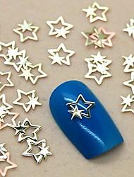 200PCS Golden Double Star Design Metal Slice Nail Art Decoration