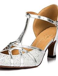 baratos -Mulheres Sapatos de Dança Moderna Glitter Salto Alto / Sandália Lantejoulas Salto Robusto Não Personalizável Sapatos de Dança Prateado / Dourado