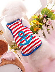 cheap -Dog Shirt / T-Shirt Dog Clothes Stripe Heart Red Blue Costume For Pets