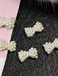 cheap -10pcs   White Pearl Bow Tie Alloy Fingernail Accessories Nail Art Decoration