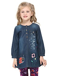 Girl's Print Dress / Jeans,Cotton Winter / Spring / Fall Blue