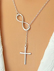 cheap -Women's Pendant Necklace / Y Necklace - Silver Plated, Gold Plated Cross, Infinity Basic, Simple Style, Fashion Adjustable Silver, Golden Necklace Jewelry For Party, Daily, Casual