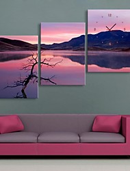 キャンバス3本での日没の風景時計