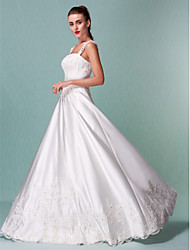 A-Line Square Neck Floor Length Satin Wedding Dress with Sequin Appliques by LAN TING BRIDE®