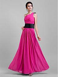 Sheath / Column One Shoulder Floor Length Chiffon Bridesmaid Dress with Draping Sash / Ribbon Pleats by LAN TING BRIDE®