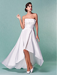cheap -A-Line Strapless Asymmetrical Taffeta Wedding Dress with Sash / Ribbon Draped Ruche by LAN TING BRIDE®