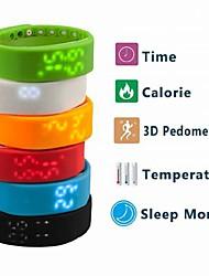 Недорогие -Муж. Спортивные часы Цифровой Календарь Секундомер Термометр силиконовый Группа Цифровой Кулоны Черный / Белый / Синий - Красный Зеленый Синий