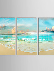 cheap -IARTS®Oil Paintings Set of 3 Landscape Sea Coast and Blue Sky Hand-painted On Canvas Ready to Hang