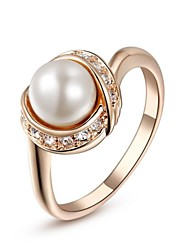 cheap -Women's Crystal Imitation Pearl Gold Plated Statement Ring - Fashion Silver Golden Ring For Wedding Party Daily Casual