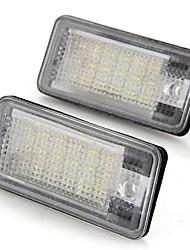 Une plaque d'immatriculation de la voiture de paire lampes ampoules blanches 18 LED SMD lumières 12v pour audi a3 a4 8e rs4 a6 rs6