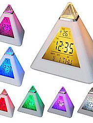 cheap -Coway 7 LED Colors Changing Pyramid Shaped Digital Alarm Clock Calendar Thermometer Nightlight