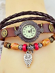 Women's Fashion Colorful Wood Bead Panda Leather Bracelet Watch(Assorted colors) Cool Watches Unique Watches