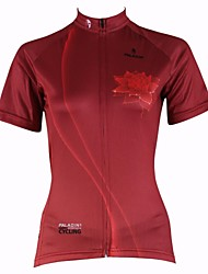 ILPALADINO Cycling Jersey Women's Short Sleeves Bike Jersey Top Quick Dry Ultraviolet Resistant Breathable 100% Polyester Floral /