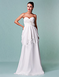 Sheath / Column Sweetheart Floor Length Chiffon Wedding Dress with Criss-Cross Flower by LAN TING BRIDE®