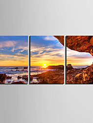 cheap -Stretched Canvas Art Landscape The Shore of The Sunset Set of 3
