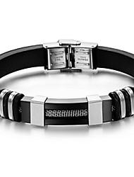 abordables -Pulseras de Identificación Resina Titanio Acero Diseño Único Moda Joyas Plata-Negro Joyas 1 pieza