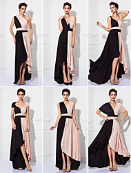 cheap -Sheath / Column V-neck Tea Length Knit Prom Formal Evening Military Ball Dress with Sash / Ribbon Pleats by TS Couture®