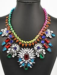 Women's Fashion Multi Color Weave Gem Necklace