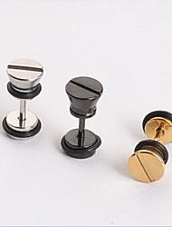 Fashion Screw Cap  Titanium Steel Stud Earring (Black,Silver,Gold) (1 PC) Christmas Gifts