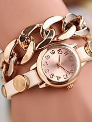 Damen Modeuhr Armband-Uhr Quartz Leder Band Schwarz Weiß Blau Rot Braun Grün Lila Purpur Braun Rot Grün Blau