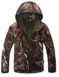 Camouflage Hunting Jacket Men's Thermal / Warm Windproof Rain-Proof Waterproof Zipper Dust Proof Breathable Camouflage Winter Fleece