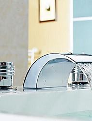 Moderne Udspredt Vandfald with  Keramik Ventil Tre Huller To Håndtag tre huller for  Krom , Håndvasken vandhane