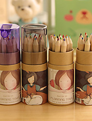 abordables -Cartoon Girl Pattern 12 Color Painting Pencil Set(12 PCS/Set)