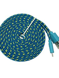 3M 10TF Micro USB Flat Noodle Fabric Braided Data Sync Charge Cable for Samsung Galaxy S3 S4(Assorted Color)