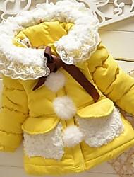 Недорогие -Девичий На пуховой / хлопковой подкладке / Куртка / пальтоЦветочный принт,Смесь хлопка,Зима / Осень,Розовый / Желтый