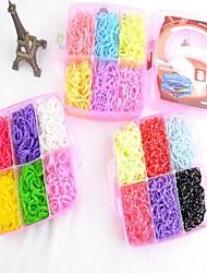 Недорогие -3600pcs красочные поделки цвета радуги ткацкий станок стиль силиконовый ремешок браслетов 3600pcs полосы, 12 S-клипы, 1 ткацкие станки, 1hook + 1box