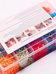 Недорогие -2000pcs красочные поделки цвета радуги ткацкий станок стиль силиконовый ремешок браслетов 2000шт полосы, 12 S-клипы, 1 ткацкие станки, 1hook + 1box