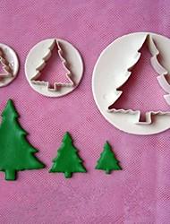 3pcs árvore de natal modelos bolo batedor fondant