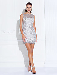 A-Line Princess Bateau Neck Short / Mini Stretch Satin Cocktail Party Homecoming Prom Holiday Dress with Crystal Detailing by TS Couture®