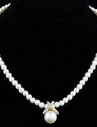 cheap -Women's Pearl Sterling Silver Imitation Pearl Rhinestone Silver Plated Pendant Necklace Pearl Necklace - Bridal Elegant Jewelry Silver