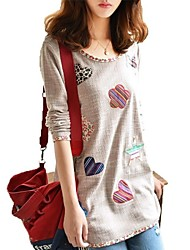 Frauen Casual Mode Blumendruck Paspelierung T-Shirt