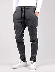 economico -Per uomo A vita medio-alta Semplice Attivo Largo Attivo Taglia piccola Pantaloni della tuta Pantaloni, Tinta unita Cotone Maglia