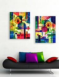 allungato tela girasole acquerello decorazione pittura astratta set di 2