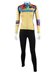 ILPALADINO Maglia con pantaloni da ciclismo Per donna Manica lunga Bicicletta Set di vestiti Asciugatura rapida Antivento Traspirante
