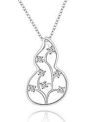 Женский Ожерелья-бархатки Ожерелья с подвесками Кулоны Стерлинговое серебро Циркон Цирконий Драгоценный камень Белый БижутерияСвадьба Для