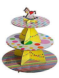 tre strati strisce colorate&stare torta punti con carosello topper