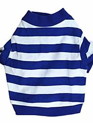 preiswerte -Katze Hund T-shirt Hundekleidung Streifen Blau Baumwolle Kostüm Für Haustiere