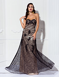cheap -A-Line Sweetheart Floor Length Lace Stretch Satin Formal Evening Military Ball Dress with Appliques Lace by TS Couture®