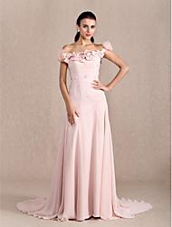 Linea-A Da principessa Strascico di corte Chiffon Serata formale Vestito con Perline Fiocco (fiocchi) Fiore (i) di TS Couture®