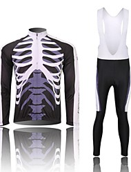 cheap -WEST BIKING® Men's Long Sleeves Cycling Jersey with Bib Tights - Black/White Skull Bike Bib Tights Tights Jersey Clothing Suits, 3D Pad,