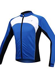 cheap -SANTIC Men's Cycling Jacket Bike Jacket / Jersey / Top Thermal / Warm, Windproof, Fleece Lining Patchwork Spandex, Fleece Blue Bike Wear