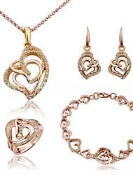 abordables -Femme Cristal Ensemble de bijoux - Mode Comprendre Chaînes & Bracelets / Boucles d'oreille goutte / Pendentif de collier Or / Argent Pour Quotidien / Anneau de déclaration