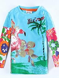 T-Shirt Rundkragen exquisite Blumen Pailletten Mädchens gedruckt Langarm antumn Winter scherzt Stückstreudruck