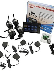 "cheap -7"" LCD Wireless  Monitor 4 Channel Quad Security System DVR With 4 Cameras"