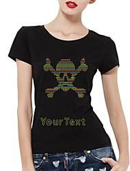 abordables -strass t-shirts personnalisés manches courtes rose crâne modèle en coton pour femmes