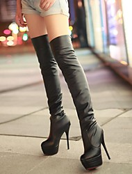 Women's Shoes Leatherette Spring Winter Stiletto Heel Over The Knee Boots For Party & Evening Dress Black White Brown